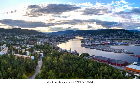 Aerial image of Drammen city, Norway. The river is called Drammensfjorden.