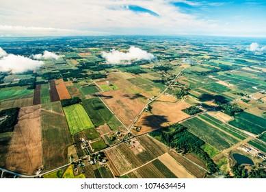 Aerial image of farms Niagara Peninsula, Ontario, Canada