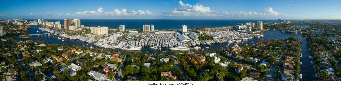 Aerial image of the Fort Lauderadle International Boat Show and Expo