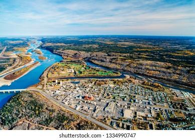 Aerial image of Fort McMurray, Alberta, Canada