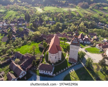 Aerial image with the fortified Evangelical Church from Saschiz, mures county, romania