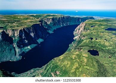 Aerial image of Gros Morne National Park, Newfoundland, Canada