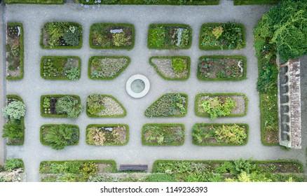 Aerial image of the herbal garden in Allerheilligen, Schaffhausen, Switzerland
