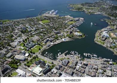 Aerial image of historic Victoria, inner harbor, Empress Hotel, Parliament Buildings, Vancouver Island, BC, Canada