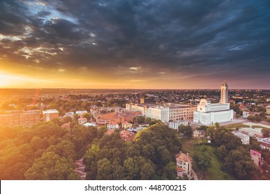 Aerial image of Kaunas city, Lithuania. Summer sunset scene. Our Lord Jesus Christ's Resurrection Basilica