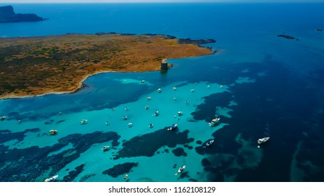 Aerial image of La Pelosa beach and Pelosa Tower  in North West of Sardinia. Asinara