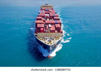 Aerial image of a Large Container ship at sea.