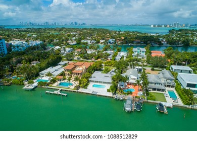 Aerial image of luxury homes on Allison Island Miami Beach FL USa