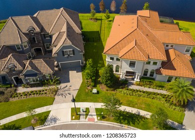 Aerial image luxury homes on a culdasac