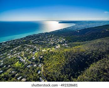 Aerial image of Mornington peninsula taken from Arthurs Seat. Melbourne, Victoria, Australia
