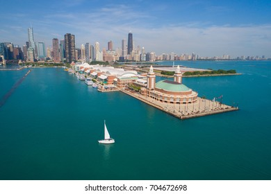 Aerial image of the Navy Pier Chicago IL USA
