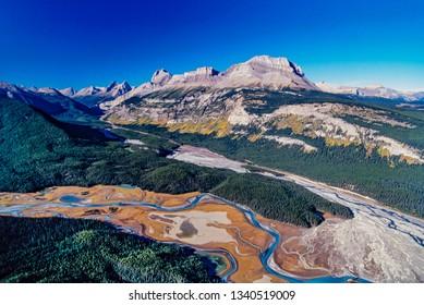 Aerial image of North Saskatchewan River, Alberta, Canada
