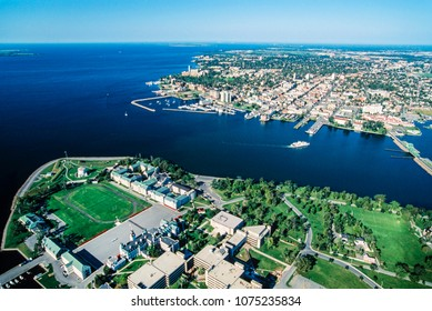 Aerial image of Old Fort Henry, Kingston, Ontario, Canada