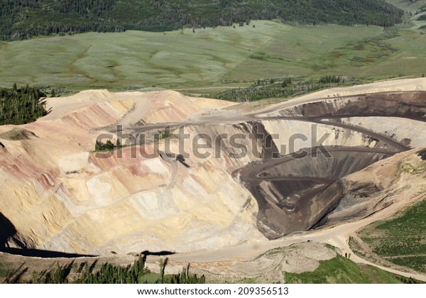 Aerial image of an open pit phosphate mine