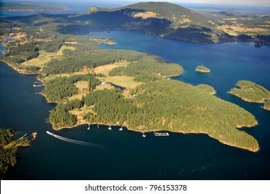 Aerial image of Orcas Island, San Juan Islands, WA, USA