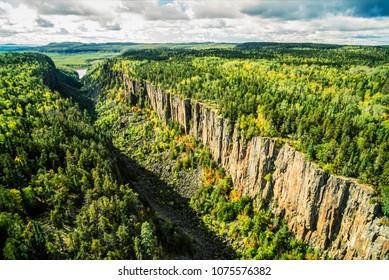 Aerial image of Ouimet Canyon, Ontario, Canada