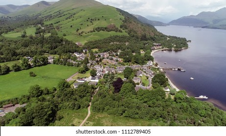 Aerial image of the picturesque village of Luss on the banks of Loch Lomond.