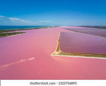 Aerial image of the Pink Lake and Gregory in Western Australia with different concentrations of salt in water