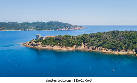 Aerial image of a Port Cros island in Cote D'Azure, French Riviera, France.