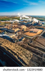 Aerial image of pulp mill, Athabasca, Alberta, Canada