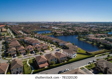 Aerial image of a residential neighborhood in Doral FL USA