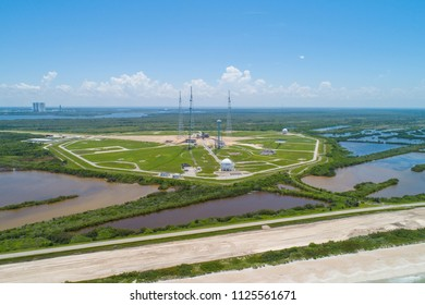 Aerial image of a rocket launch facility in Florida USA