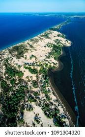 Aerial image of Sandbanks Provincial Park, Picton, Ontario, Canada