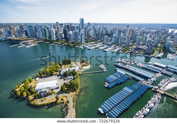 Aerial image of Stanley Park, Coal Harbor and Vancouver, BC, Canada