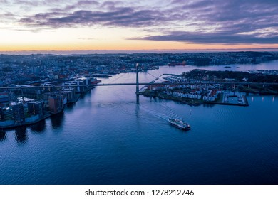Aerial image of Stavanger city, Norway. The bridge is called Bybrua and connect Stavanger city with several surrounding islands. This image was shot in Desember 2018.