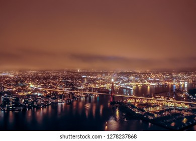 Aerial image of Stavanger city, Norway. This image show Stavanger from the fjord. The image was taken in Desember 2018.