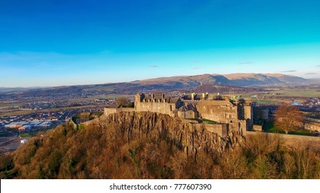 Aerial image of Stirling Castle with the Wallace Monument in the distance.