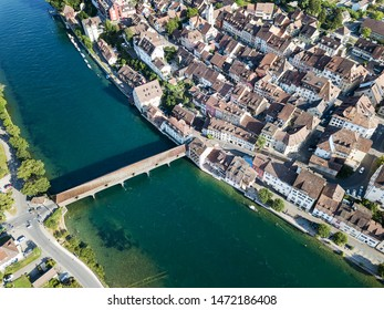 Aerial image of Swiss old town Diessenhofen with old wooden covered bridge over the Rhine river, Canton Thurgau, Switzerland