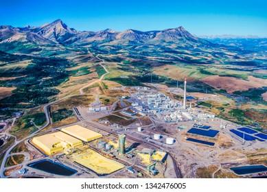 Aerial image of tar sands oil refinery, Alberta, Canada