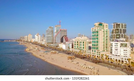 Aerial image of Tel Aviv (Israel) coastline and skyline, captured over The Mediterranean Sea on a Beautiful clear sunny day.