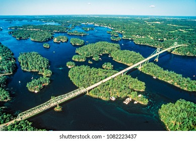 Aerial image of Thousand Islands, Ontario, Canada