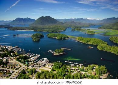 Aerial image of Tofino, BC, Canada