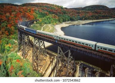 Aerial image of train and rail line Agawa Canyon, Ontario, Canada