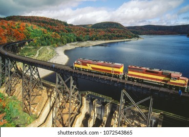 Aerial image of train and rail line Agawa Canyon, Ontario, Canada