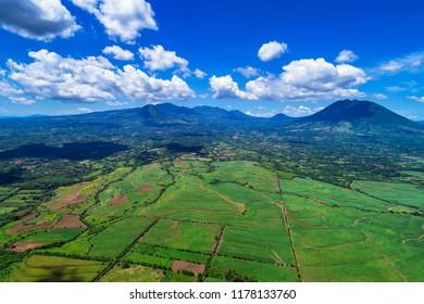 An aerial image of the valley of Ozatlán in El Salvador