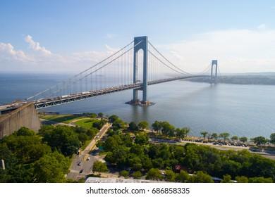 Aerial image of the Verrazano Narrows Bridge New York