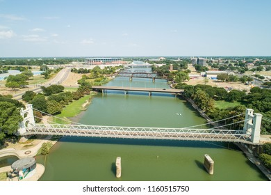 Aerial image of the Waco suspension Bridge