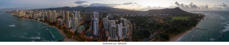 Aerial image of Waikiki Beach Honolulu Hawaii