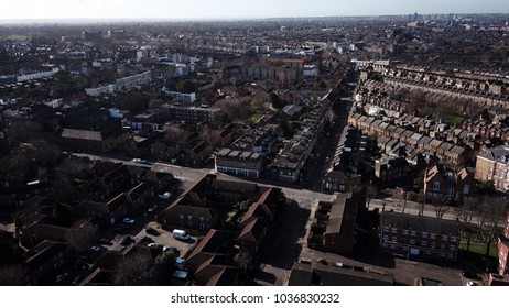 Aerial image of Wandsworth and Battersea in South West London, England.