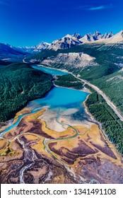 Aerial image of Waterfowl Lakes, Alberta, Canada