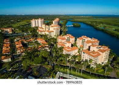 Aerial image of waterfront luxury condominiums in Miami Florida