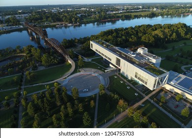 Aerial image of The William J. Clinton Presidential Library in Little Rock, Arkansas/USA Sept. 30, 2018.