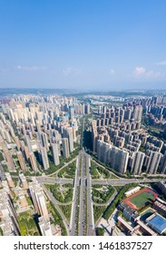 aerial images of city overpass on xian, dense residential area, developing urbanization,  China