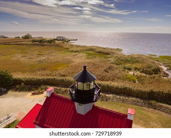 Aerial images of the newly remodeled and restored East Point Lighthouse in Cape May on the Delaware bay