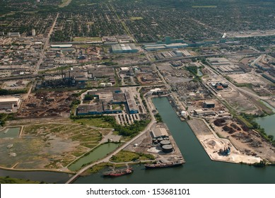 Aerial of industrial harbor and surrounding industry
