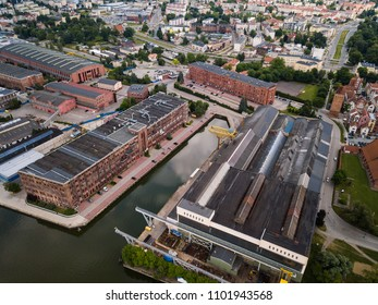 Aerial: Industrial zone of Elblag town, Poland